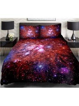 Splendid Red Galaxy Print 4-Piece Duvet Cover Sets
