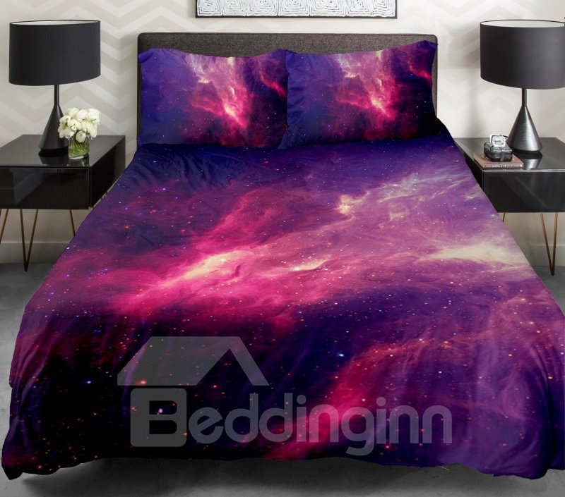 Fantastic Red Nebula Print 4-Piece Duvet Cover Sets