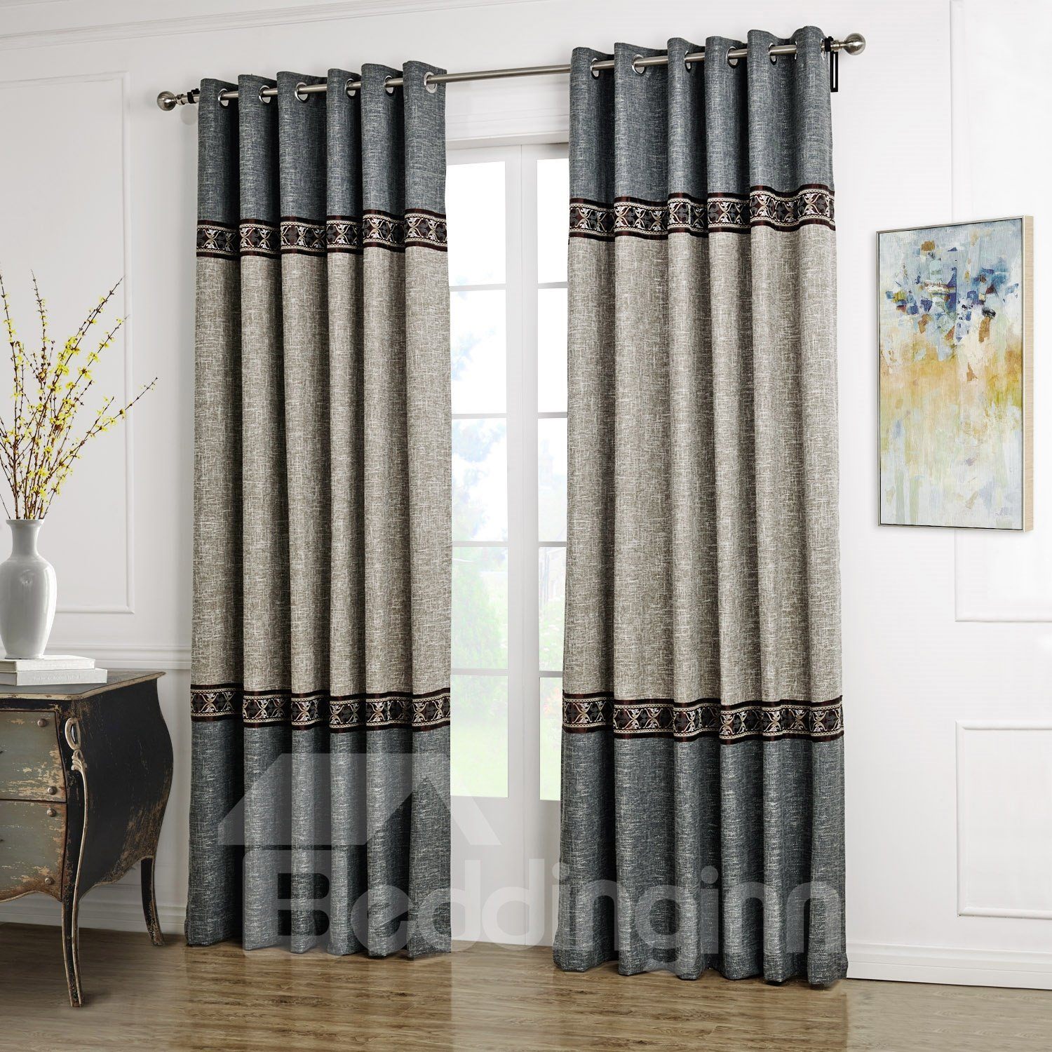 Fantastic Blue And Gray Joint Color Decorative Border Design Custom Curtain