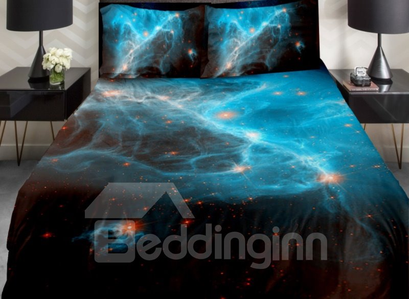 Blue Nebula and Orange Color Star Print 4-Piece Duvet Cover Sets