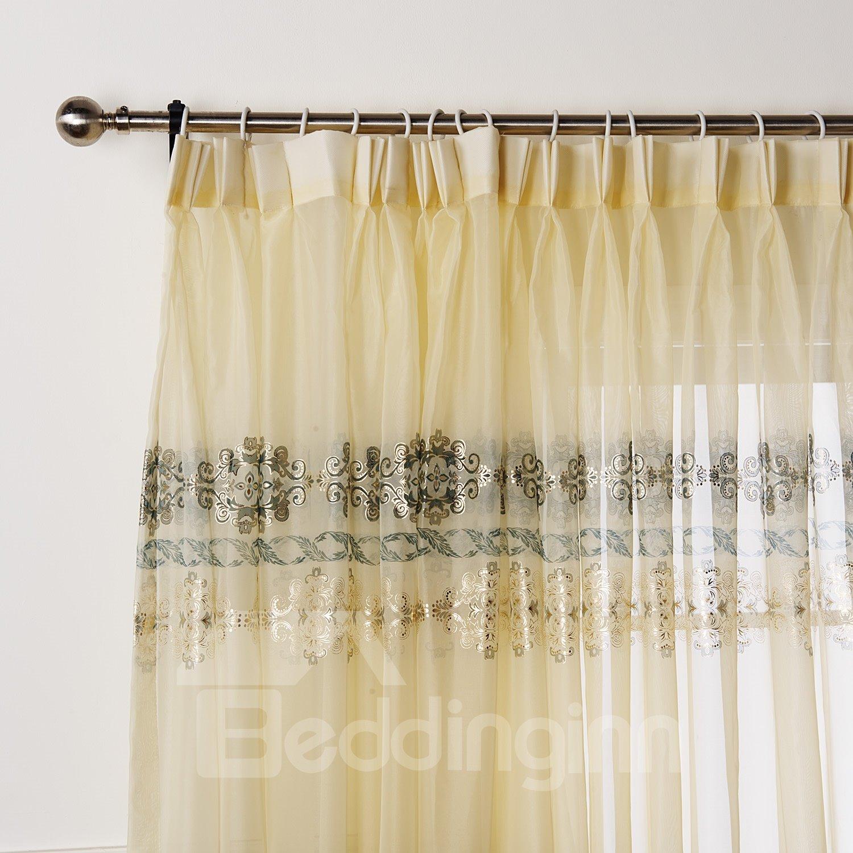 Wonderful Pretty Gold Stamping Custom Sheer Curtain