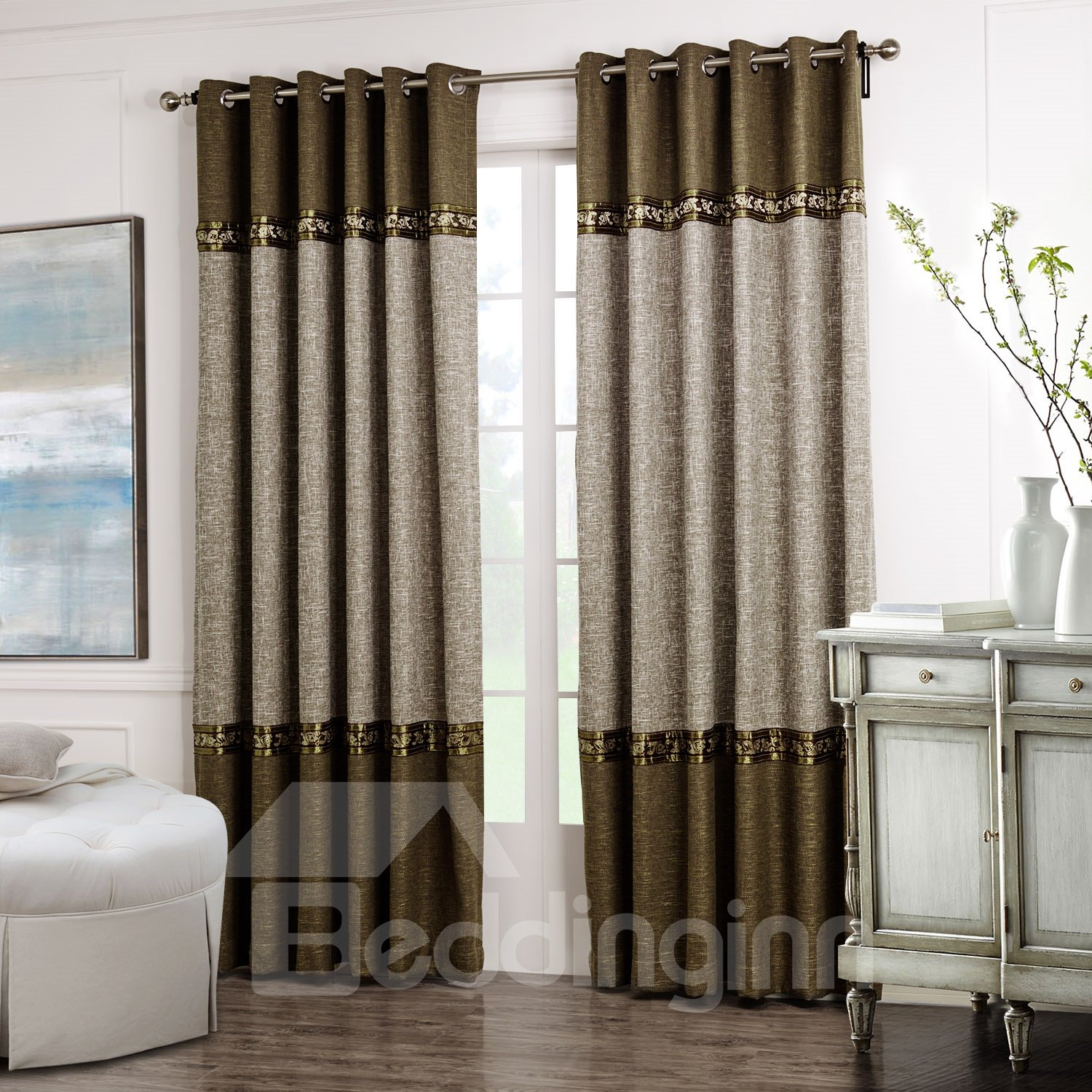 Fabulous Brown Gray Joint Color Decorative Border Design Custom Curtain