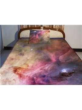 Purple Nebula and Shining Star Print 4-Piece Duvet Cover Sets