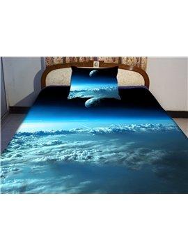 Blue Sky and Star Print 4-Piece Duvet Cover Sets