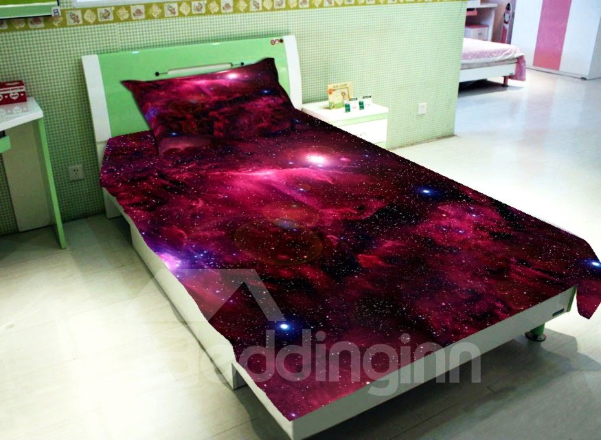 ... Amazing Bright Red Galaxy Print 4 Piece Duvet Cover Sets