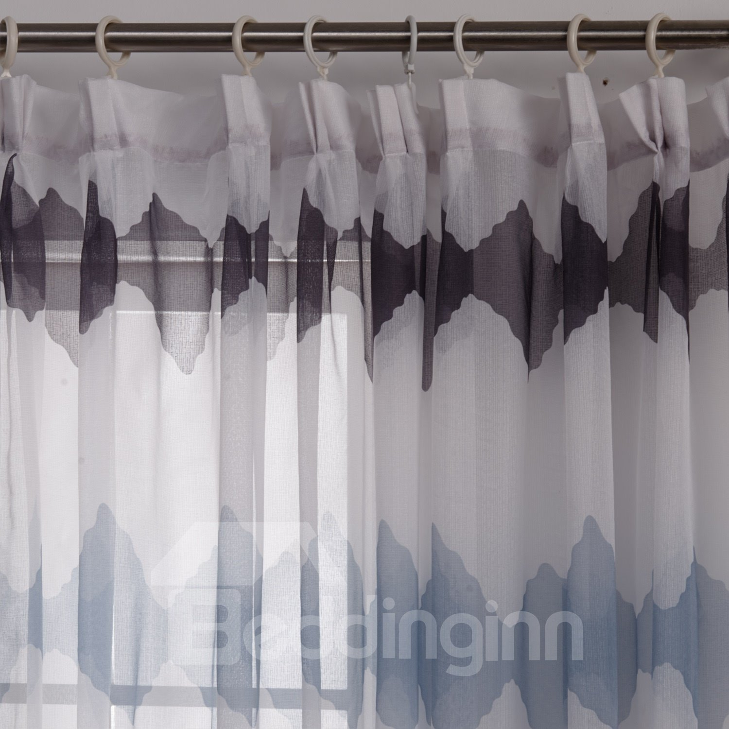 New Style Blue Brown Diamond Printing Custom Sheer Curtain