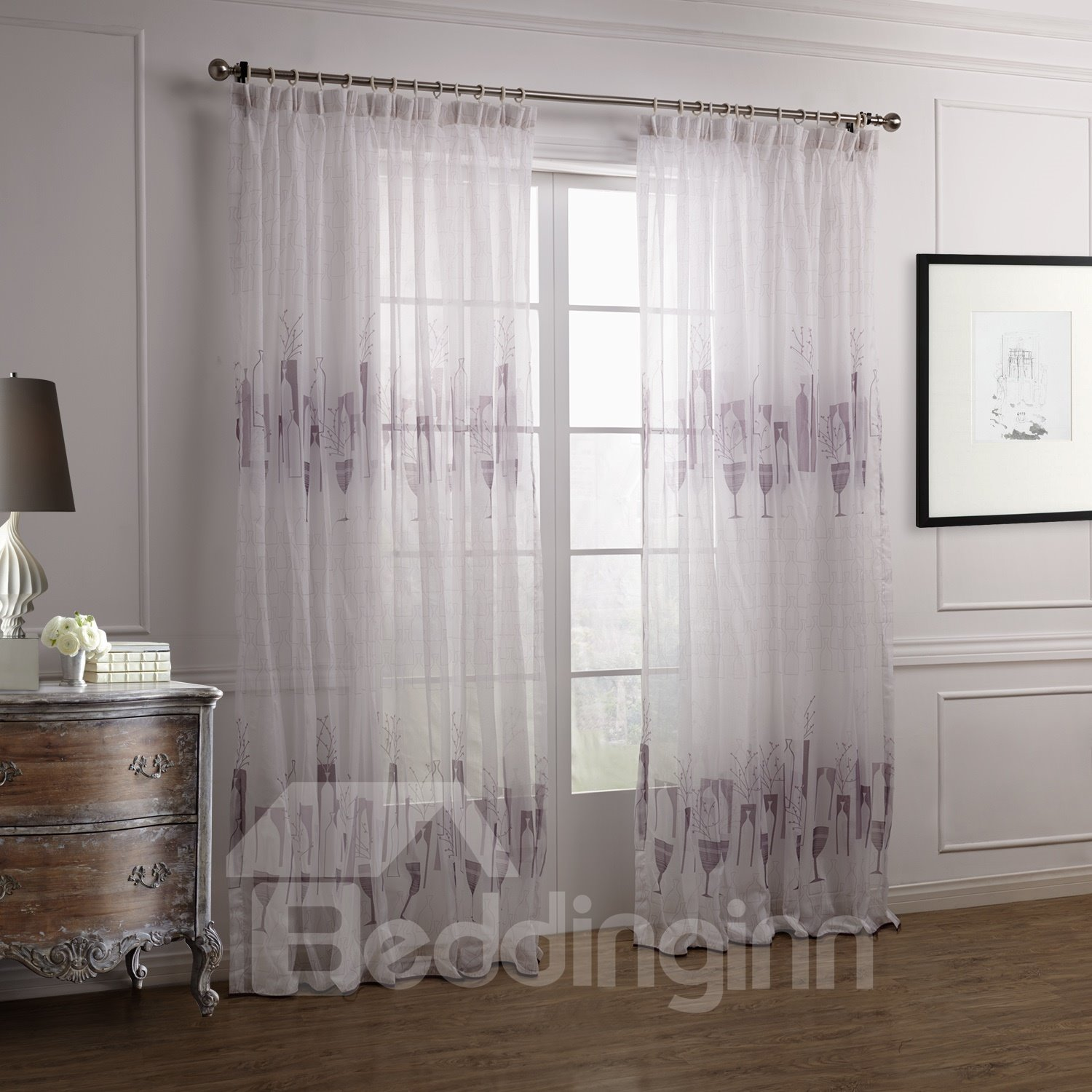 Fantastic Elegant Purple Vase Floral Printing Custom Sheer Curtain