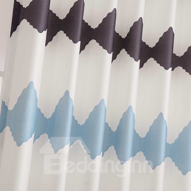 Fantastic Blue Brown Design Grommet Top Custom Curtain