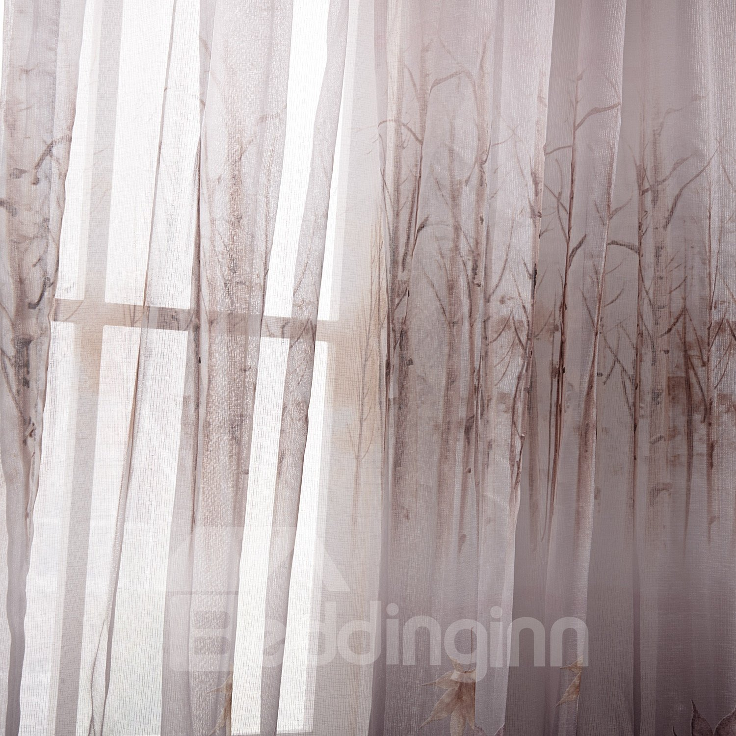 Fantastic Gray Leaves And Forest Printing Custom Sheer