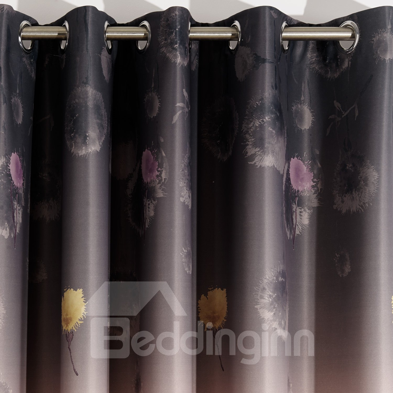 Graceful Sparking Deep Purple Dandelion Printing Custom Curtain