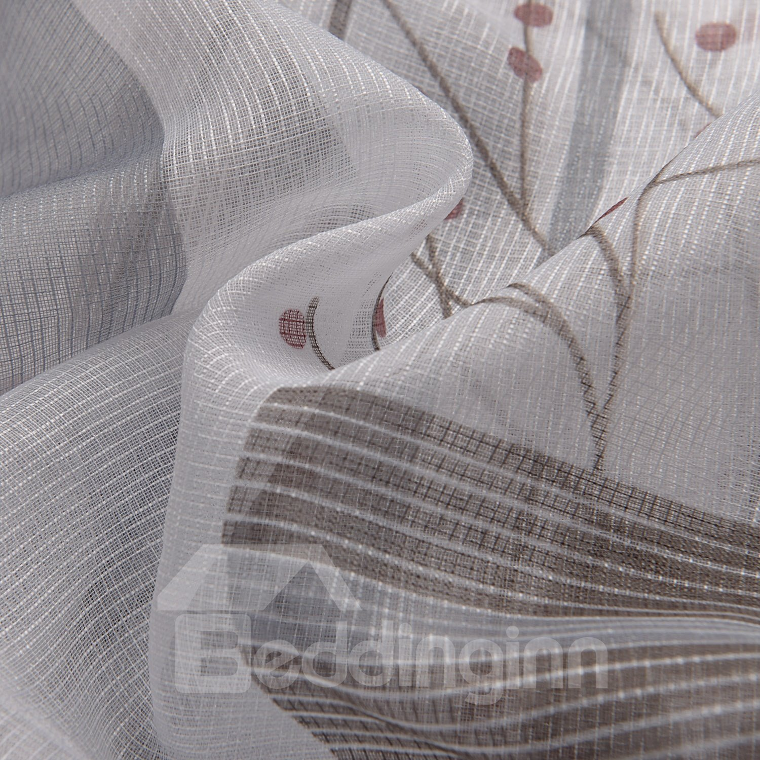 Wonderful Gorgeous Gray Vase Floral Printing Custom Sheer Curtain