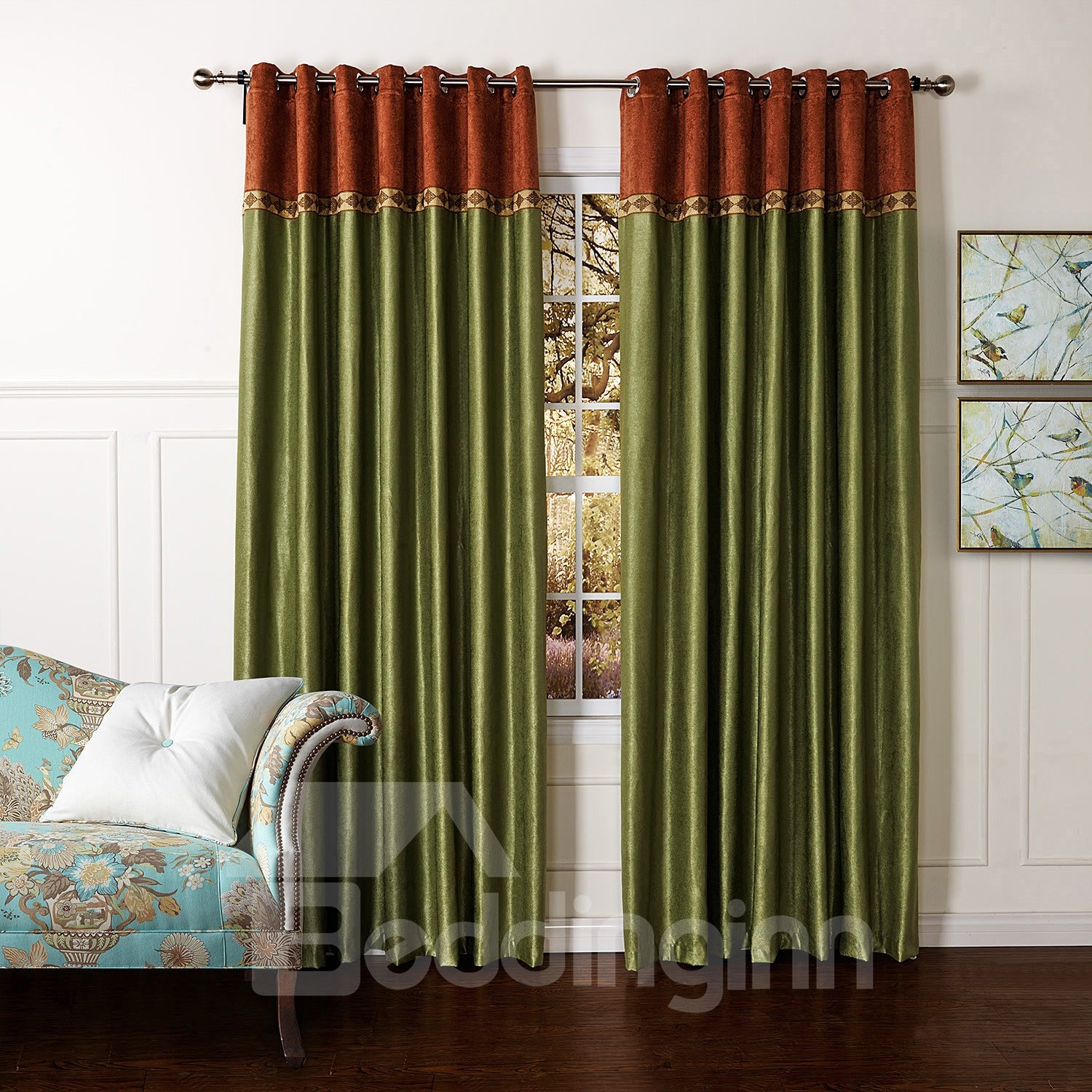 New Style Pretty Green Granular Villus Custom Curtain