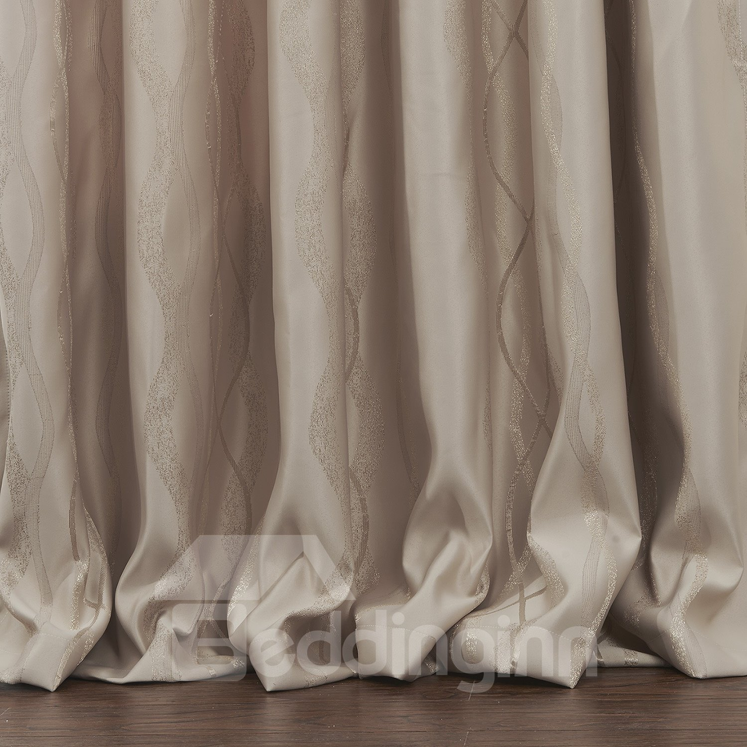 Fantastic Pretty Beige Ribbon Pattern Custom Curtain