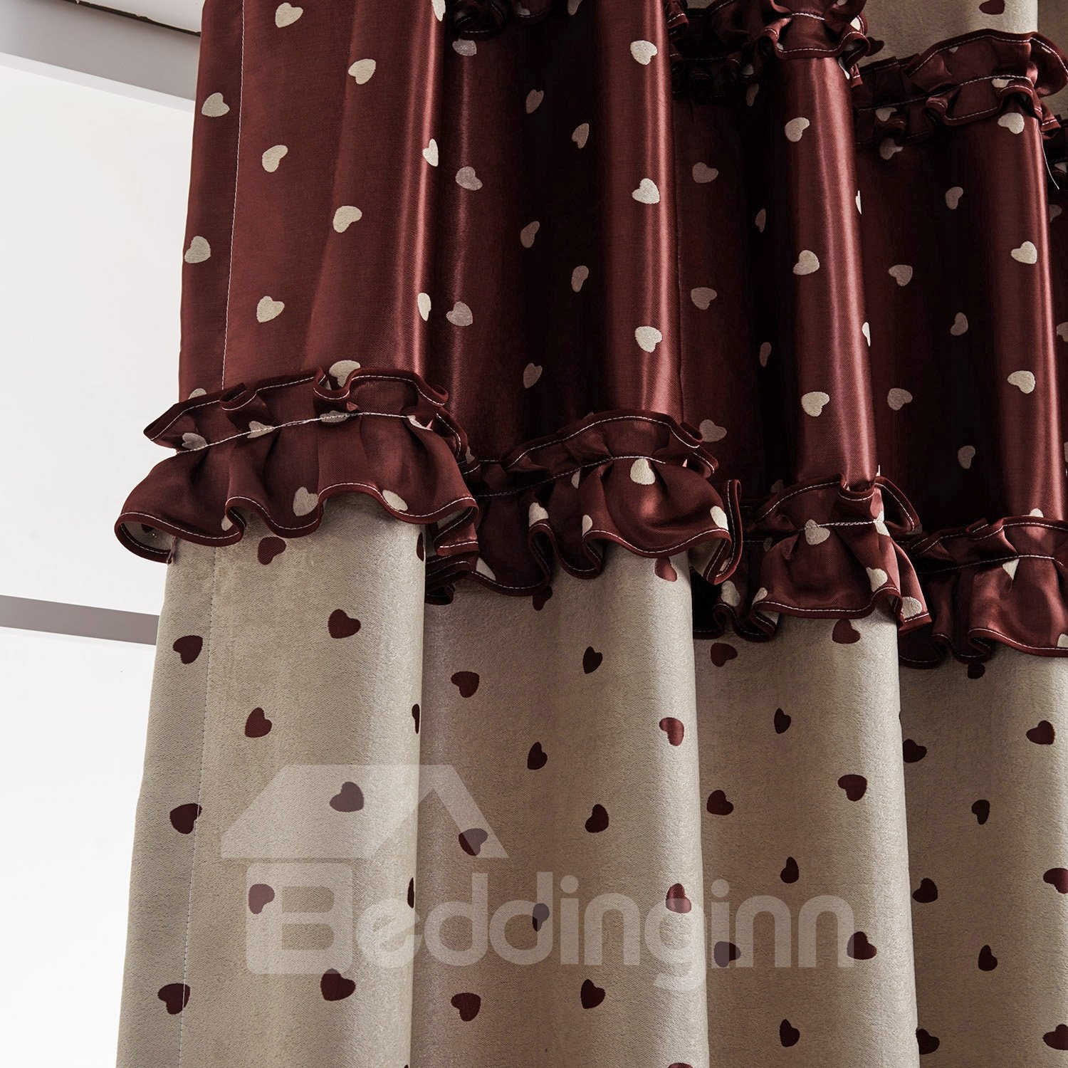 Luxury Double Color Scheme Grommet Top Custom Made Curtain