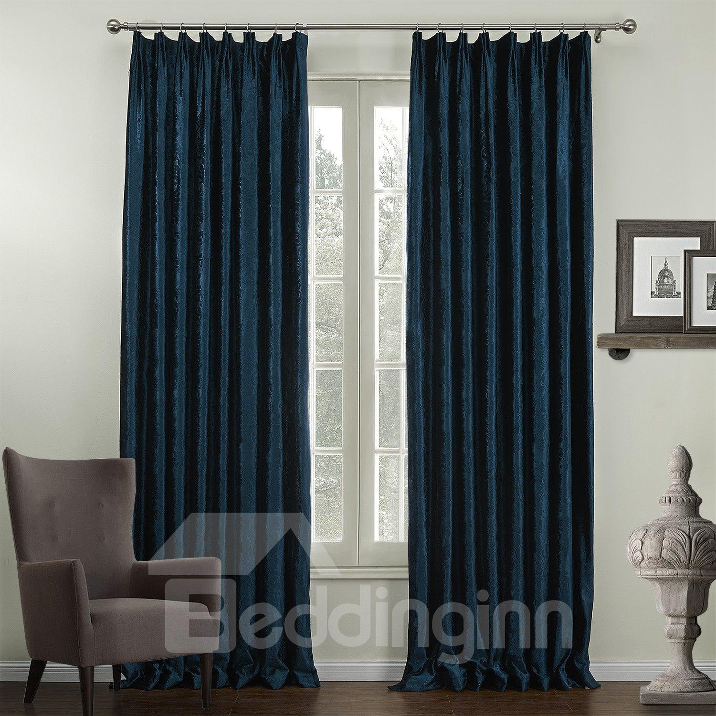 Graceful Elegant Deep Blue Jacquard Pattern Custom Curtain