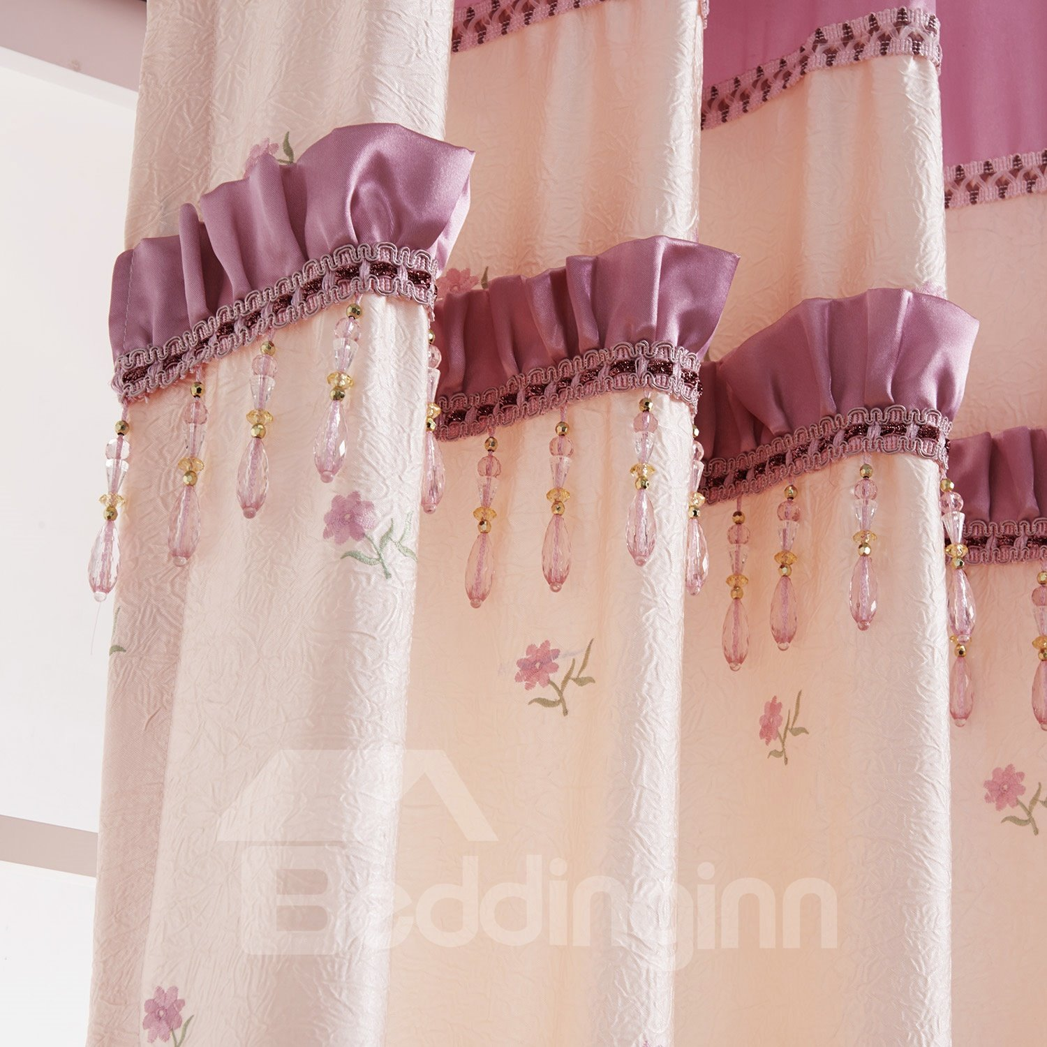 Classic Wonderful Embroidery Pretty Pink Custom Curtain