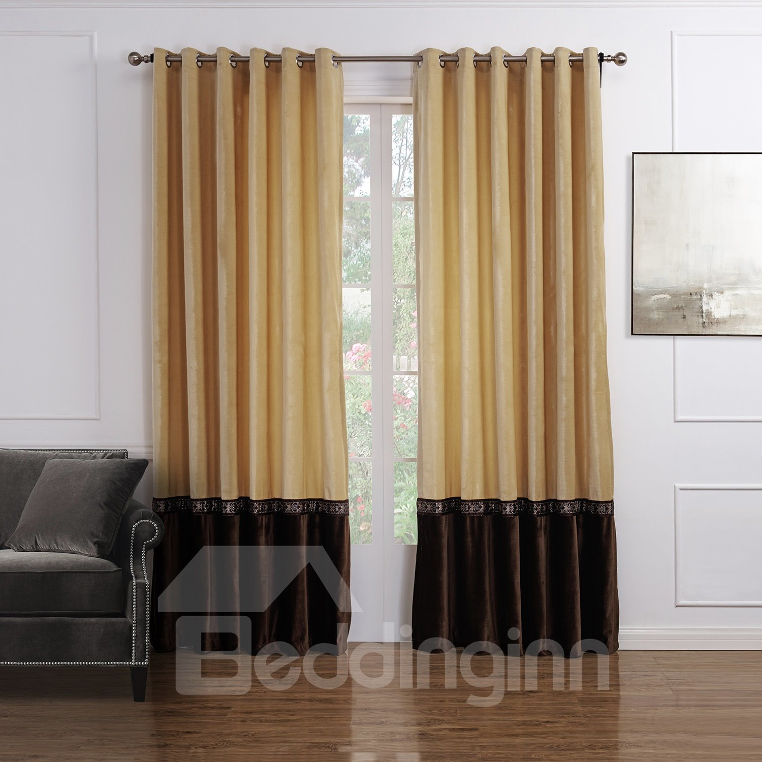 Wonderful High Quality Flannelette Double Colors Custom Curtain