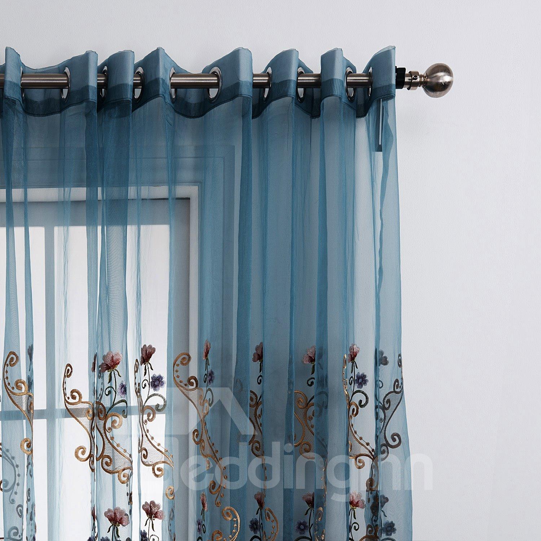 Wonderful Floral Pattern Custom Sheer Curtain