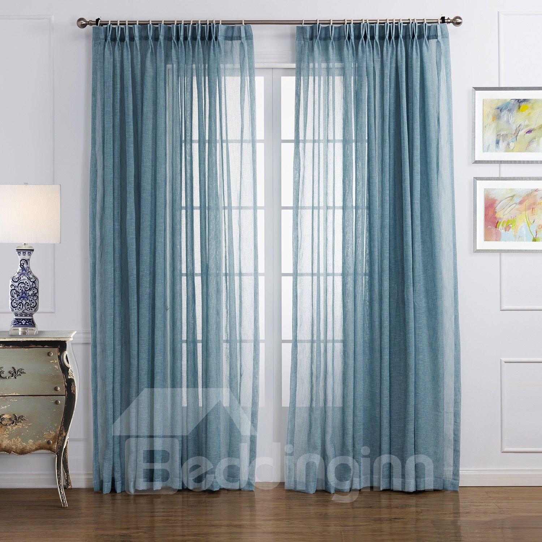 New Style Popular Pretty Blue Custom Sheer Curtain