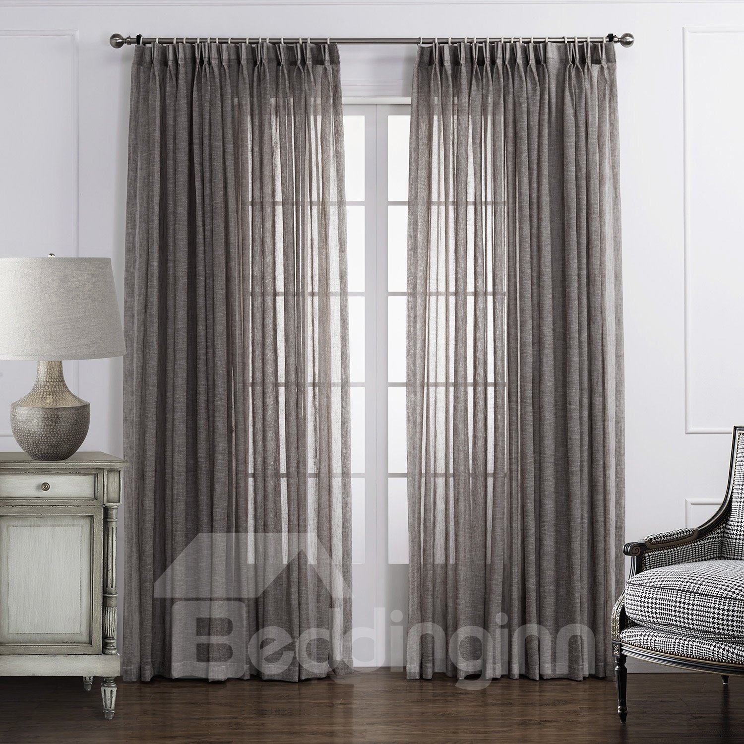 Popular Classic Polyester and Linen Custom Sheer Curtain