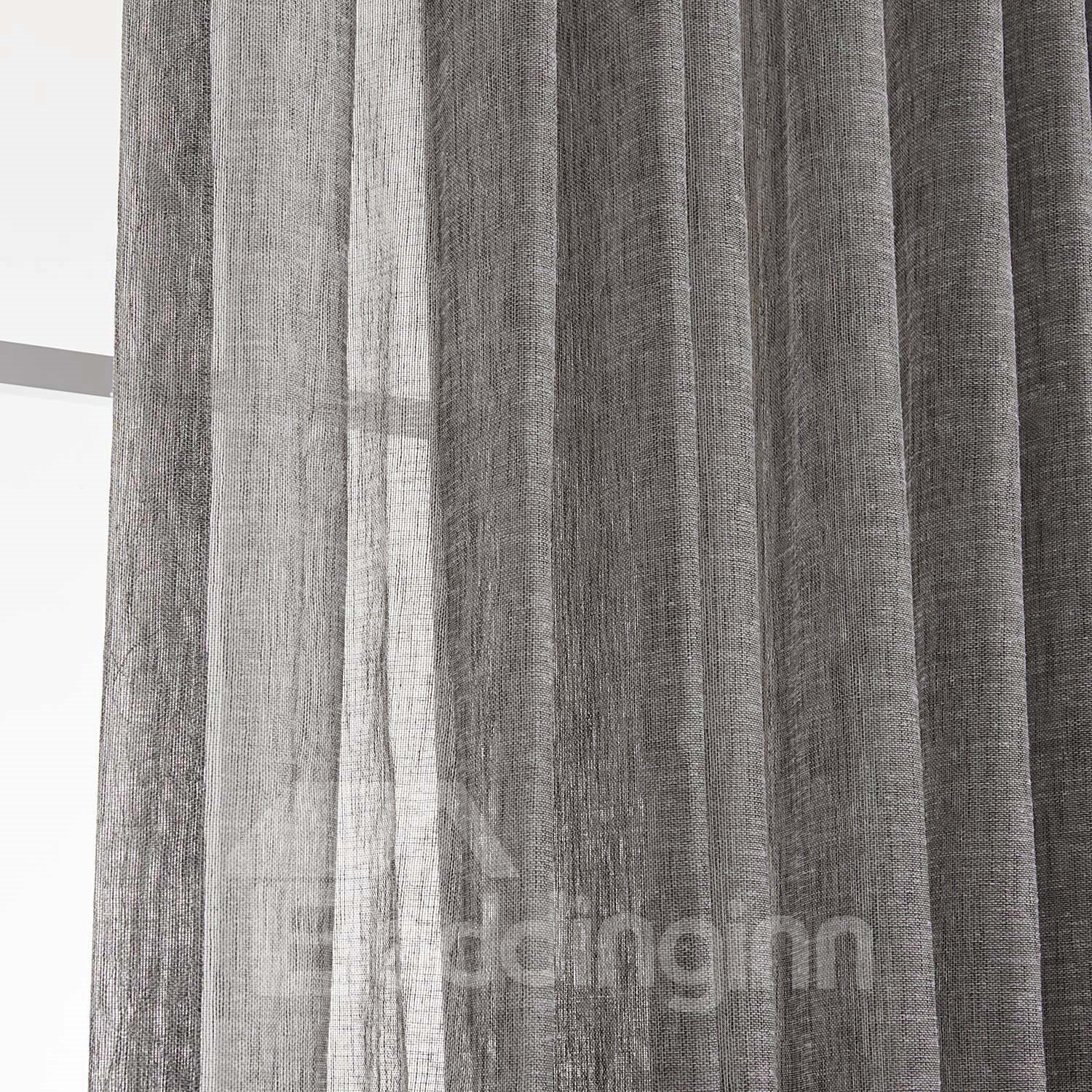 ... Light Gray Popular Polyester And Linen Custom Sheer Curtain ...