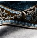 Fancy Blue Decorative Border Design Custom Made Curtain