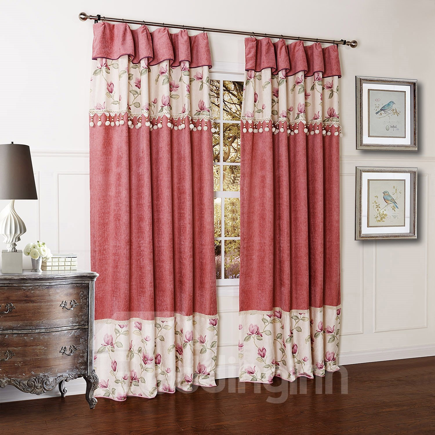 Beautiful Flowers Printing Chenille Double Pinch Pleat Custom Curtain with Valance