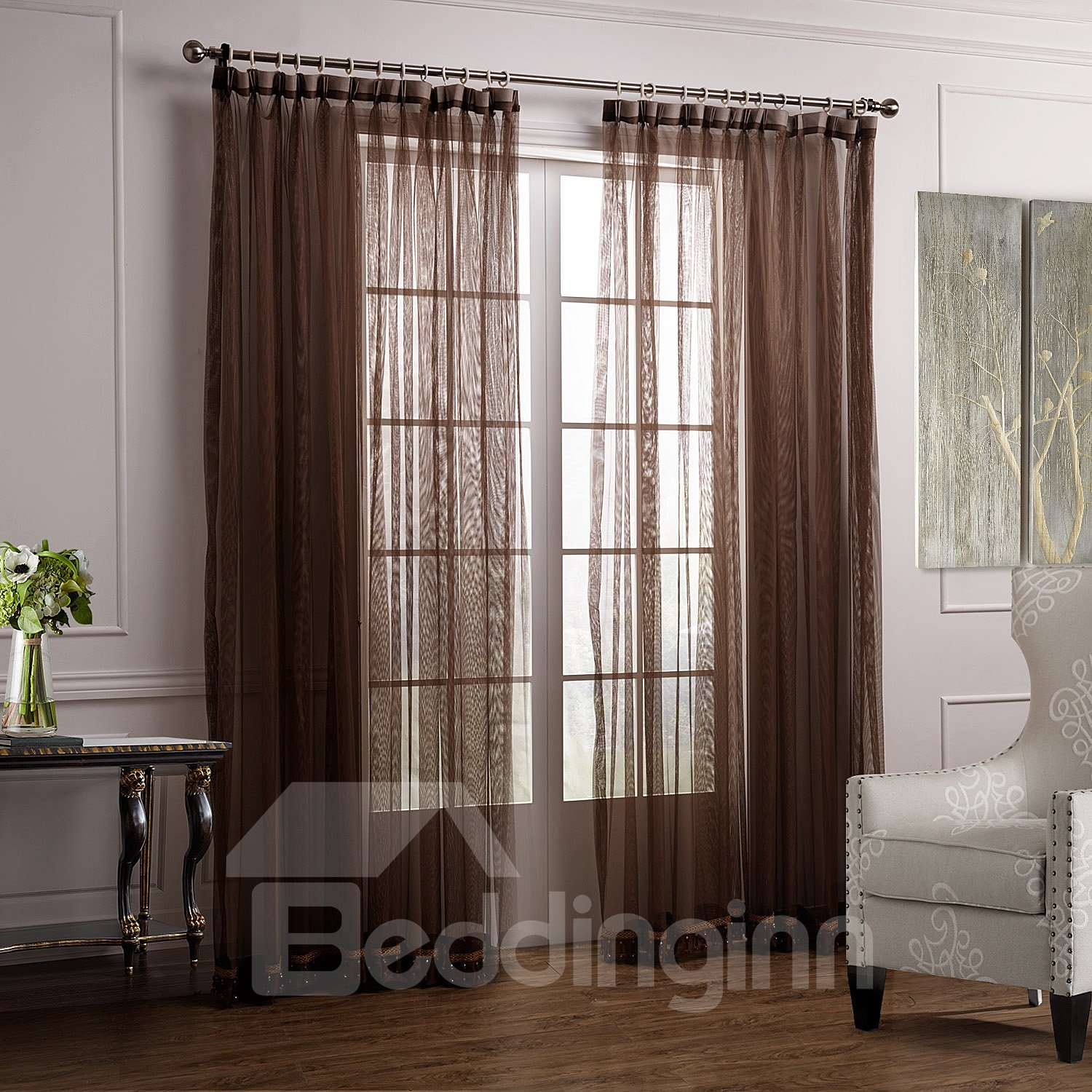 Concise Gorgeous Solid Coffee Custom Sheer Curtain