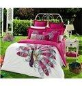 Cozy Fabulous Phoenix Print 4-Piece Cotton Duvet Cover Sets