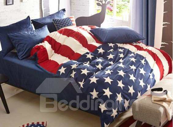 Cozy Fashion Stars Flag Pattern 4-Piece Polyester Duvet Cover Sets