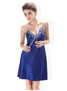 Graceful Silky Deep Blue Jacquard Style Chemise