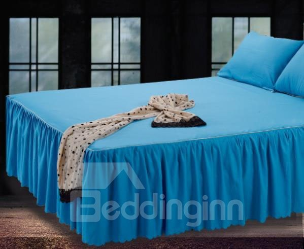 Cozy and Comfortable Solid Mazarine Lace Border Bed Skirt
