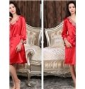 Elegant Silky Rose Embroidery Lace Border Robe