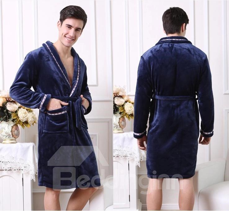 High Quality Cozy Elegant Concise Male Bathrobe
