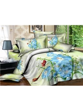 Elegant Blue Flower and Red Butterfly Print 4-Piece Cotton Duvet Cover Sets