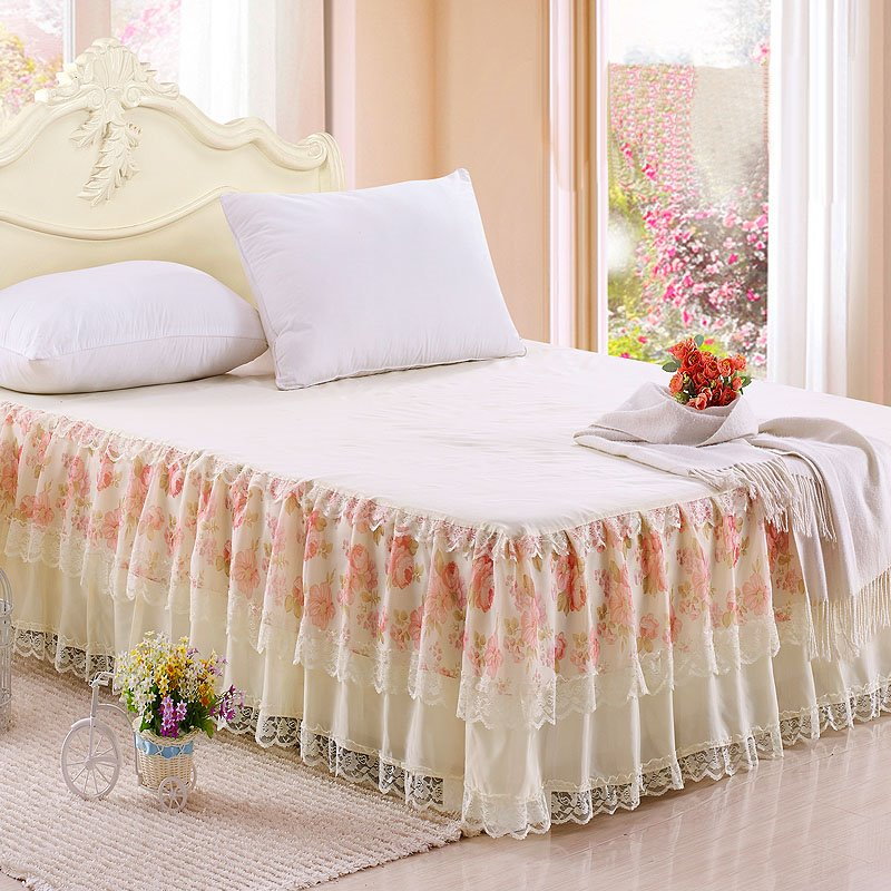 Pastoral Style Little Flowers and Lace Border Cinderella Pattern Bed Skirt