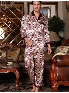 Elegant Silky Jacquard Wine Red Male Pajama