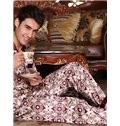 Elegant Silky Jacquard Wine Red Male Pajama