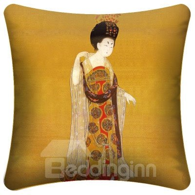 High Quality Luxury Dressed Palace Lady Pattern Throw Pillow