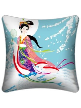 Legend Chang'e Flying to the Moon Pattern Throw Pillow