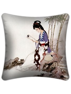 New Style Ancient Lady Reading a Book Pattern Throw Pillow