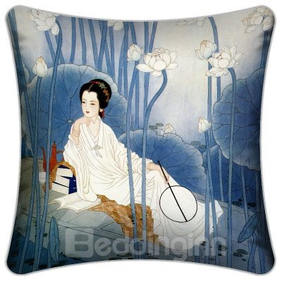 Fancy Ancient Beautiful Lady Surrounded by Lotus Pattern Throw Pillow