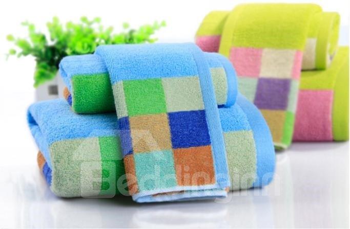 Super Cozy Colorful Checks Three-piece Bath Towel