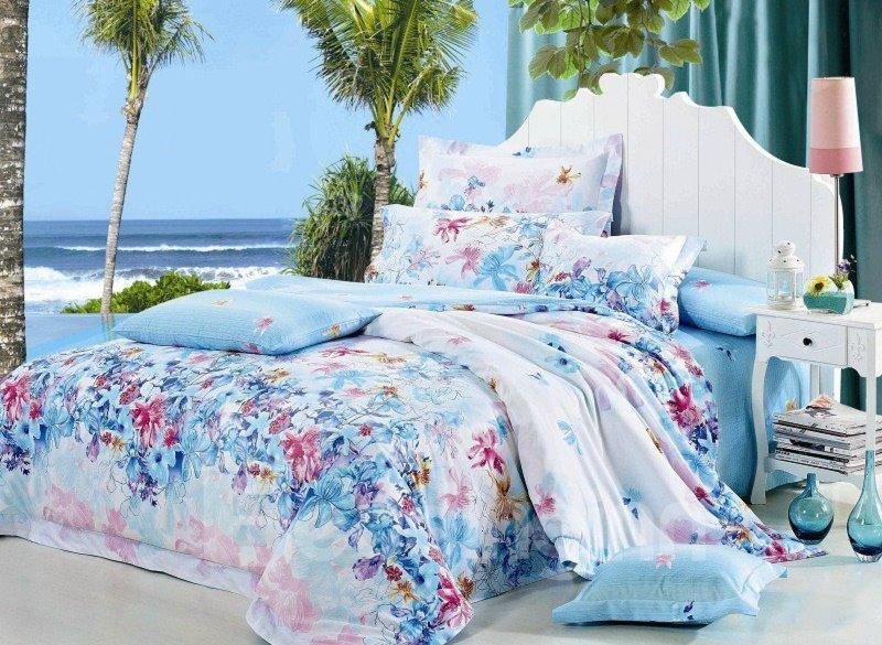 Sky Blue Floral Pattern 4-Piece Cotton Duvet Cover Sets