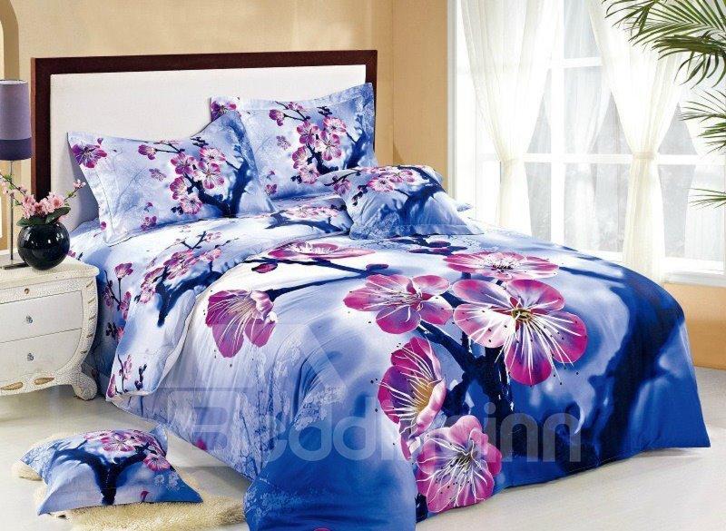 Pink Plum Blossom with Blue Background Print 4-Piece Cotton Duvet Cover Sets
