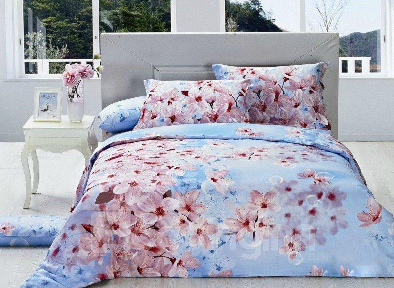 Boundless Huge Peach Blossom Print 4-Piece Cotton Duvet Cover Sets