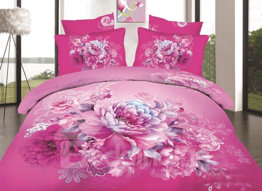 Pink Peony Print 4-Piece Cotton Duvet Cover Sets