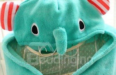 Super Cute Green Elephant Shape Baby Pashmina Animal Print Blanket