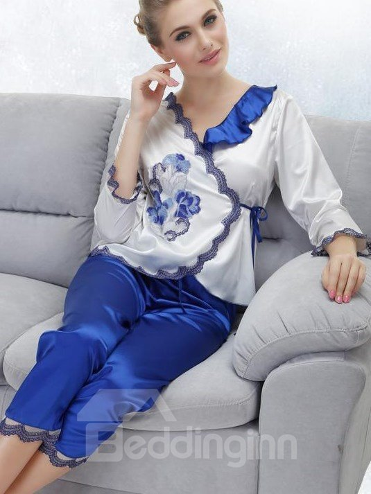 New Arrival Graceful Flower Embroidery Pattern Loungewear