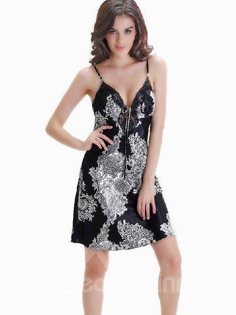 Attractive Sexy Black V-neckline Lace Border Loungewear